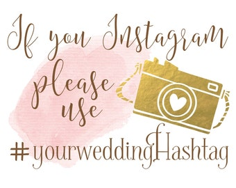Boho Chic Wedding Sign | Wedding Hashtag Sign | Personalized Instagram PRINTABLE | Quick Turnaround DIY Print
