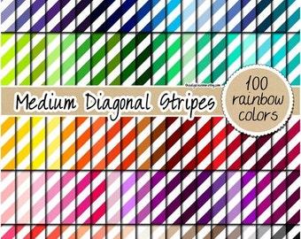 SALE 100 medium diagonal striped digital paper stripes digital rainbow pattern scrapbooking kit printable 12x12 pastel neutral bright dark c