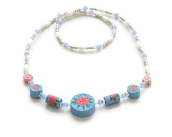 Girls Blue Stretch Necklace - Children's Seed Bead Jewelry - Kids Beaded Starter Necklace
