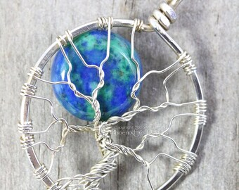 Azurite Malachite Full Moon Tree of Life Pendant Eco Friendly Recycled Argentium Sterling Silver Necklace Celestial Wire Wrapped Jewelry