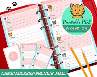 PRINTABLE Personal Size Name Address Phone Number Refills Cute Kawaii Kitty Filofax Kikki.K Louis Vuitton Organizer Planner Instant Download