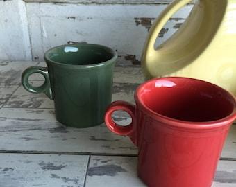 Vintage Fiestaware Coffee Mugs - Red, Green or Cobalt Blue