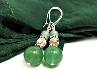 Green Aventurine and Multi-colored Glass Beads Dangle Earrings