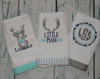 Personalized Arrow and Buck Burp cloth Set of 3 Monogrammed