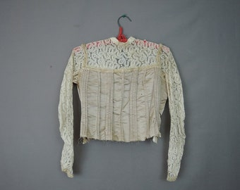 Victorian Bodice Vintage Blouse, Tan Silk and Lace, As Is 1800s Antique Clothing, 32 bust