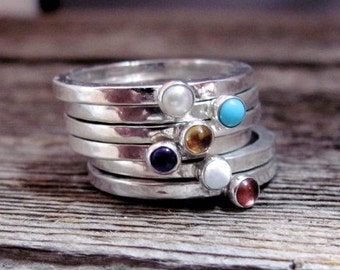 Choose Your Stone Stacking Ring in Sterling and Gemstone