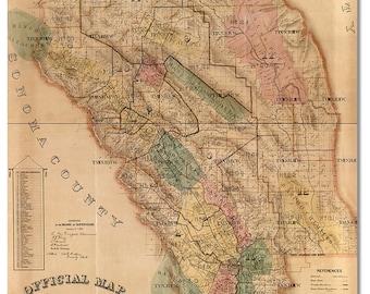 """Napa County 1874 Map Tray 16"""" 1/2""""x12"""" 1/2"""