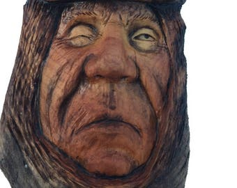 Wood Carving, Wall Art, Handmade Woodworking, Wood Spirit Carving by Josh Carte, Rustic Decor, Sculpture, Made in Ohio, Wood Face, OOAK