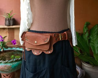 Leather Utility Belt, Festival Hip Bag, Steampunk Belt Bag, iPhone Pocket Travel Belt, Waist Bag, Fanny Pack, Gift For Her - The Lotus