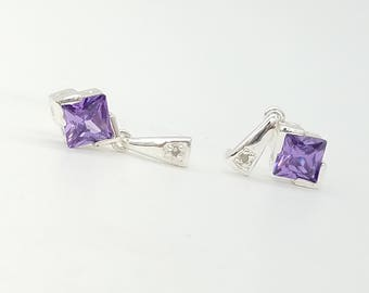 Vintage CZ Amethyst & Sterling Silver Stud Earrings