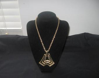 Vintage Gold Filagre Necklace Pendant Jewelry