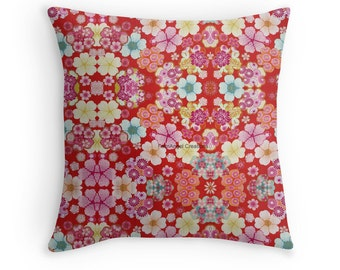 Crimson Floral Chirimen Throw Pillow, Pillow Case & Insert, Multiple Sizes Available!