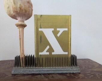 """1 vintage brass X stencil, letter X, capital X, 3 inch stencil, 3 """" stencil X old stencil, metal stencil, old, rustic, primitive, antique"""