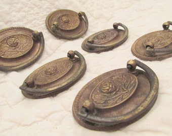 6 Vintage Brass Handles or Pulls Oval with center Flower