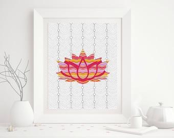 Lotus Flower Colorful Yoga Studio, Yogi Art Print - Printable Art - 8x10 - Digital Download