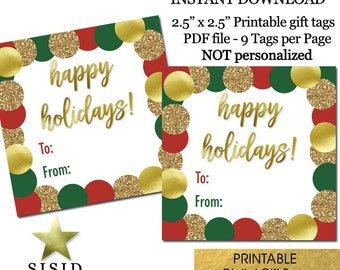 Happy Holidays Printable Gift Tags, Red Green Gold Christmas Gift Tags Printable, Ready to Print INSTANT DOWNLOAD
