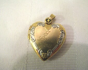 a745 Beautiful Heart Shaped 14k Yellow Gold Locket with I Love You on Front