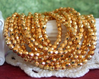 24kt Gold Plated Beads, 3mm Fire Polished Beads, Czech Glass Beads, Faceted Glass Beads, Gold Beads, Gold Plated Glass Beads CZ-101