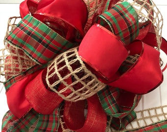 Christmas Tree Bow Topper Festive Country Plaid Green Red Extra Large Bow Topper Tree Bow Christmas Bow READY TO SHIP Large Bow Topper