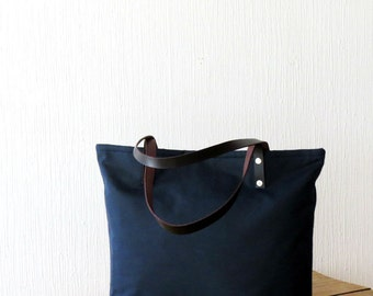 AMELIA, Waxed canvas Bag Navy Blue, Large Wax Canvas Tote Bag, Handmade, Many Pockets, Purse, Handbag, Shoulder Bag