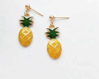 Pineapple cute earring/ear clip handmade J001