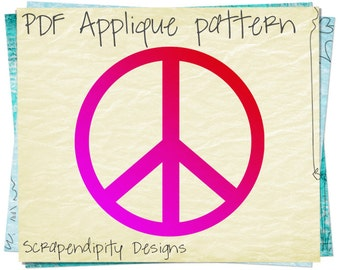 Peace Applique Template - Love Applique Pattern / Peace Shirt Design / DIY Hippie Tshirt / Baby Clothing / Nursey Wall Hanging PDF AP151-D