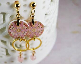 pink orchid earrings, kaleidoscope earrings, floral earrings, gifts under 20