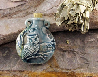 Peruvian Ceramic Raku Owl Bottle