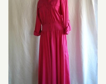 On Sale 1980's Pink Day Dress Cotton Size 12