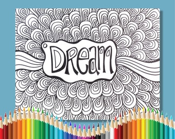 Coloring Pages for Adults Dream Instant Download