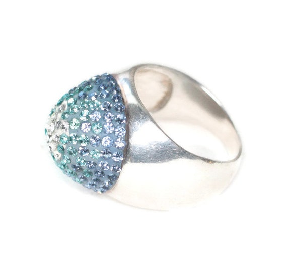 Domed Sterling Silver Ring Blue and Clear Crystals Size 7 Statement Cocktail Dinner Vintage Ring
