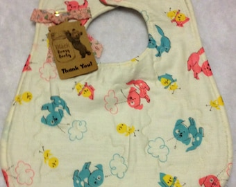 Handmade Baby Infant Toddler Bib Quilted Vintage Puppies Reversible