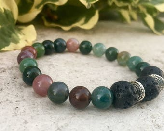 Jasper Gemstone And Lava Diffuser Bracelet, Aromatherapy Jewelry, Chakra jewelry, Healing Properties, Natural Remedy