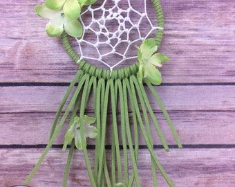 Green Floral Dream Catcher