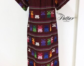 Vintage Guatemalan hand embroidered dress, Guatemala hand woven embroidery ethnic boho behemian butterfly