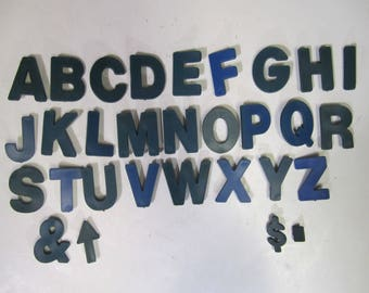 """Plastic Message Menu Board Letters & Numbers Lot of 310 Blue Green 1.5""""   1"""""""