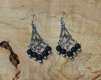 Black Onyx Chandelier Earrings ~ Stone Jewelry ~ Elegant Evening Wear ~ Bohemian Style ~ Matte Black Stones ~ Tibetan Silver Dangle Earrings