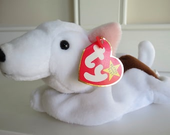 RARE Ty Beanie Baby - BUTCH the Bull Terrier, Tag ERROR & Date Error, 5th Gen Swing Tag, Multiple Errors, Made in China, Mint Condition