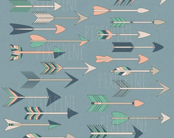 Tribal Arrow Clipart Set, 25 PNGs, Colorful Arrow Clipart, Commercial Use, Arrows Clipart, Peach, Green, Colorful tribal arrows, instant