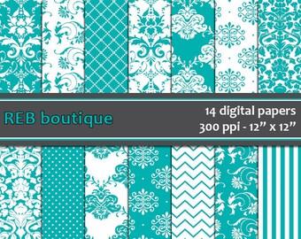 Digital Paper Damask - Digital paper, teal, blue, green, damask, white, dots, chevron, stripes, paper pack, scrapbooking 33