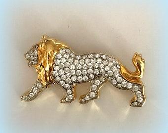 Rhinestone LION Brooch - Sparkling Pave Set Rhinestones - Gold Tone - Figural Pin - Vintage Jewelry