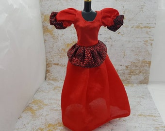 Barbie Gown Red and Black Shiny fashions Outfit 11 inch doll
