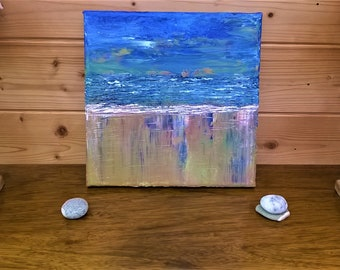 Original painting, Cornish beach in the evening, original sunset seascape, ready to hang wall art, original Cornish art, Cornwall beach art