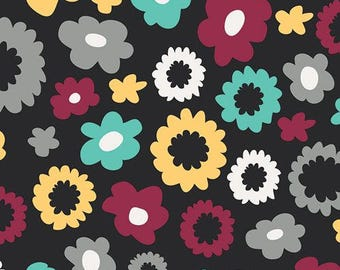 Nordika Poppy Fields Caviar - Art Gallery - Floral Flowers Black - Quilting Cotton Fabric - choose your cut