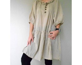 Brown Cotton Little Pleats Loose Short Tunic Dress (H)