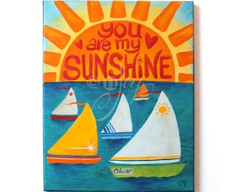 CUSTOM Kids Wall Art, You Are My Sunshine painted to order 11x14 inch acrylic canvas for nursery