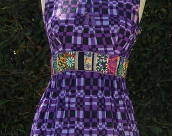 Psychedelic boho vintage Maxi dress with Mandarin collar