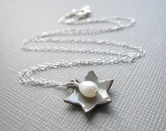 Dove Gray Jewish Star of David Necklace White Pearl Sterling Silver Enamel