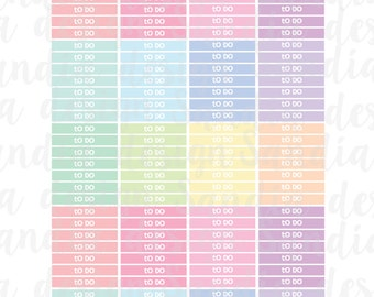 Printable To Do Headers Planner Stickers, Rainbow and Pastels, perfect for EC Planner and other Planners.