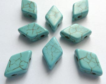 15 pearls flat diamond 1.5 cm imitation turquoise synthetic stone reconstituted Double holes